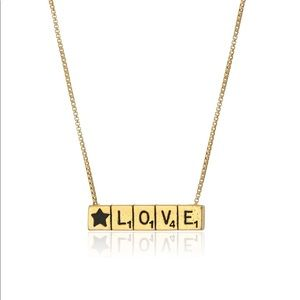 NWT Alex and Ani Scrabble LOVE Necklace Gold